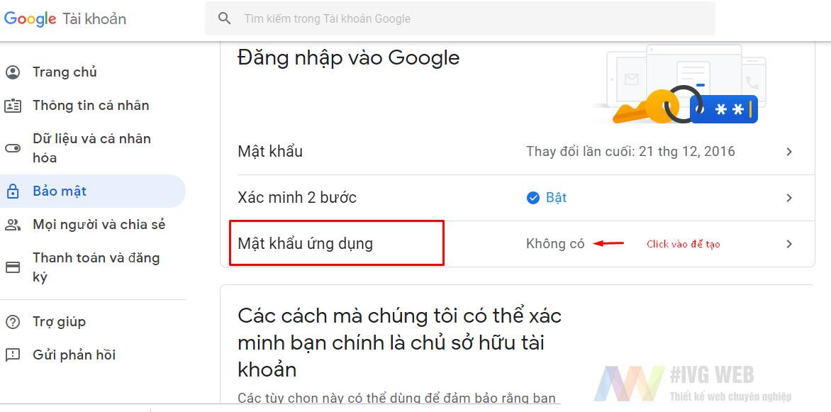 Bước 3 - Tạo mật khẩu ứng dụng Gmail