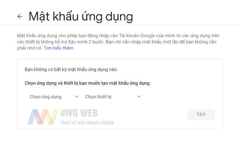 Bước 4 - Tạo mật khẩu ứng dụng Gmail